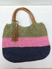 Straw Studios Large Straw Hand Bag Tote Colorful Stripes