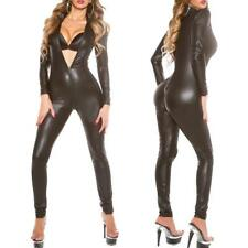Womens PVC Leather Zipper Catsuit Bodysuit Costume Club Jumpsuit Romper Cosplay