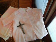 BAPTISM/CHRISTENING ANTIQUE BABY GIRL  PINK COAT, BLANKET, AND CROSS