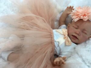REBORN DOLL BABY GIRL PEACH TUTU OUTFIT MAGNETIC DUMMY E
