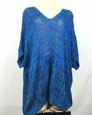 Catherines Blue Green Crochet Knit Short Sleeve Sweater Women's Plus Size 1X