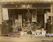 JAPANESE FURNITURE STORE Antique Photo 1880 WADA TEMPLE HIOGO Japan Albumen