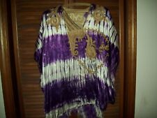 VINTAGE MENS AFRICAN FORMAL WEAR SHIRT TYE DYED PURPLE WHITE GOLD EMBROIDERY