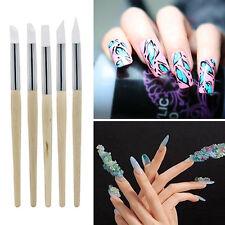 New 5Pcs Nail Art Silicone Sculpture Pen Nail Art Pencils Salon Tool Set Fashion