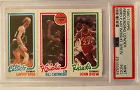 Larry Bird, Bill Cartwright, John Drew 1980-81 Topps PSA 9(OC) MINT Rookie Card!
