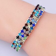Stretch Bracelet Tennis Rhinestones Silver filled Party Multi Colour