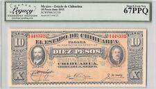 Mexico, Chihuahua 1915 P-S535b LCG Superb Gem UNC 67 PPQ 10 Pesos