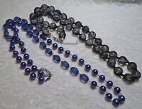 PURPLE & BLACK CHUNKY LUCITE BEADED LONG NECKLACE LOT