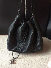 100% Genuine Chanel Black Calf Skin Large Bucket Bag