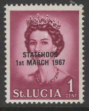 ST LUCIA 1967 UNISSUED 1c. DEFINITIVE OVPRT STATEHOOD IN BLACK  -  MNH