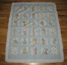 """Precious Moments Baby Crib Quilt Panel Blanket ABC 37""""x47"""" Hand Made Cute Gift"""