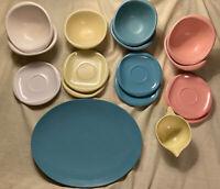 Boonton Ware Melmac Melamine MCM LOT Bowl Saucer Platter Pink Blue Yellow 18 Pc.