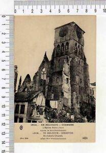 """10180) PC BELGIUM 1914 WWI """"DIXMUDE S. John's Church after bombardament""""  Mint"""