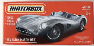 2021 MATCHBOX #44/100 - 1956 Aston Martin DBR1 (Silver) 1xPower Grab (New Mix 2)