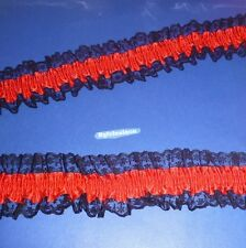 50  cm  of   Red / Black  Edge   Satin  Ribbon  Garter   Lace    55 mm   wide