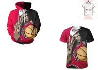 Michael Jordan 3D T-Shirt & Hoodies Full Print Tee NBA Chicago Styl Size S - 7XL
