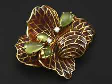 Email Brillant Prasiolith Blütenbrosche von Otto Klein   22,8g 750/- Gelbgold