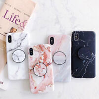 For iPhone XS Max XR 6s 7 8 Plus Marble Pattern Stand Holder Soft TPU Case Cover