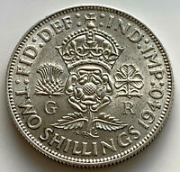 1940 SILVER FLORIN COIN OF KING GEORGE VI. TWO SHILLINGS. 2/-