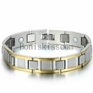 Men's Silver Gold Tone Stainless Steel Golf Therapy Magnetic Link Cuff Bracelet