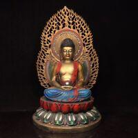 "16"" Chinese old antique bronze Cloisonne Backlight Sakyamuni Buddha statue"
