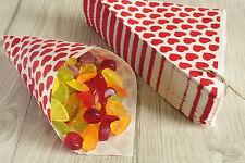 50 Papiertüten Spitztüten Herzen rot 19 cm Geschenktüten Hochzeit Dreieckstüten