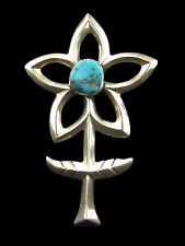 Sterling Silver Sandcast Turquoise Flower Pin - Navajo Handmade