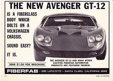 1967 FIBERFAB AVENGER GT-12 KIT CAR  ~  NICE ORIGINAL SMALLER PRINT AD