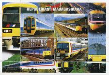 Madagascar 1999 MNH Trains 4v M/S Rail Railways Stamps