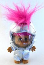 Russ Troll ASTRONAUT Silver Space Suit & Helmet Pink Hair Hard Plastic Doll Toy