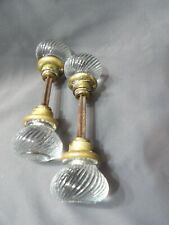 "Antique Swirl Sager 2 pair door knobs nice condition light signs wear 6"" across"