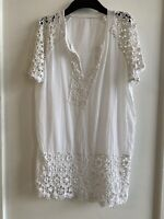 WHITE CROCHET KAFTAN TOP 14 SUMMER HOLIDAY IBIZA MARBS GLAM CUTE PRETTY COTTON