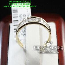 10K YELLOW GOLD PRINCESS CUT GENUINE 1/5CTW LADIES WOMEN'S WEDDING BAND RING NEW