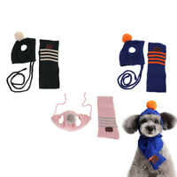 Winter Warm Knitted Pet Dog Hat Scarf Puppy Costume Clothes Small 1 Set