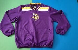 Minnesota Vikings NFL Pullover Jacket V-Neck Embroidered Logos Size Large Purple