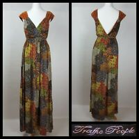 Traffic People Multicoloured Ethnic Floral Print Belted Maxi Dress Size S