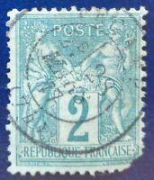 France oblitéré, n°74, 2c vert, Sage type 2, 1876