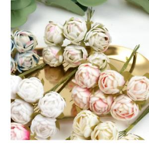 6pcs Mini Tea Roses Bud Artificial Flower Bouquet for Wedding Home Party Deco