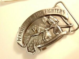 limited edition pewter Pennsylvania Fire Fighters belt buckle; 390 of 5000