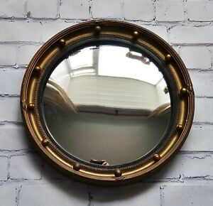 Vintage 1940's Convex Regency Style Mirror Gold Gilt Butlers Porthole By Atsonea