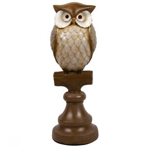 Brown Owl on a Stand Figurine,Table Decor,Living Room,Library,Home Office,12 in
