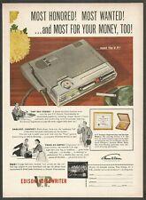 V.P. EDISON VOICEWRITER - 1954 Vintage Print Ad