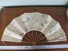 ~25 inch Antique 1880-1900 China Japan Hand Painted Rice Paper Folding Hand Fan