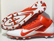 Nike Alpha Pro Flywire 3/4 Mens Football Cleats 579636 181 Orange White Sz 16