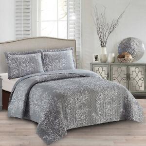 Soft Odette Reversible Lightweight Bedspread Over-Sized 3pc Quilt Set