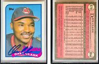Dave Clark Signed 1989 Topps #574 Card Cleveland Indians Auto Autograph