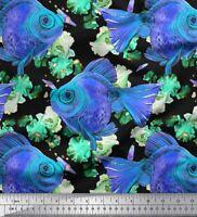 Soimoi Azul popelina de algodon Tela pescado Oceano tela estampada-yUZ