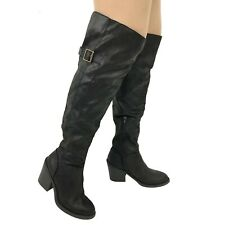 BLACK Shoes Round Toe Zip Slouch Ladies Block Heel Slimming Boots Size UK 3