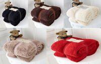 Luxurious Fleece Blanket Teddy Bear Throws Cuddly Warm Sofa Bed Blanket Throw