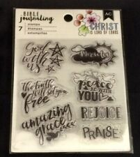 New - American Crafts, 7 Clear Religious BIBLE JOURNALING Craft Stamps